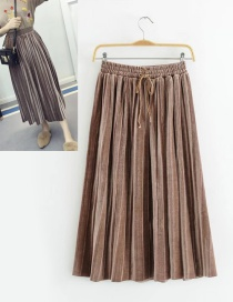 Trendy Coffee Pure Color Decorated Adjustable Skirt