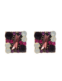 Fashion Purple Full Diamond Decorated Square Shape Earrings