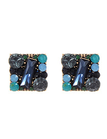 Fashion Blue Full Diamond Decorated Square Shape Earrings