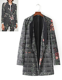 Fashion Gray Flower Pattern Decorated Long Sleeves Coat