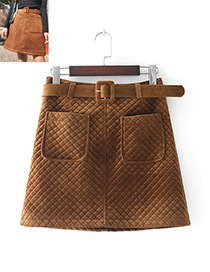 Fashion Brown Grid Pattern Decorated Pure Color Skirt(with Belt)