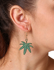 Fashion Dark Green Coconut Tree Decorated Simple Earrings