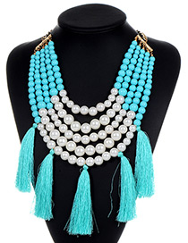Fashion Blue Pearls&tassel Decorated Necklace