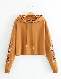 Sexy Brown Embroidery Flower Shape Decorated Hoodie