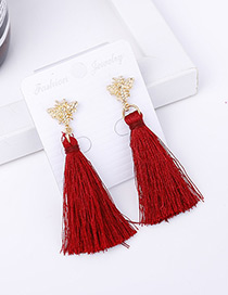 Bohemia Claret-red Butterfly Shape Decorated Tassel Earrings