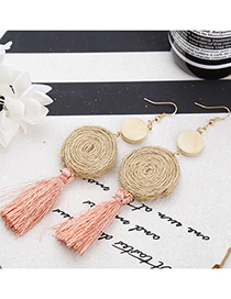 Bohemia Pink Round Shape Decorated Tassel Earrings