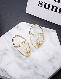 Personality Gold Color Mask Shape Decorated Earrings