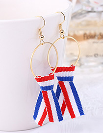 Fashion Red+blue Color-matching Decorated Earrings
