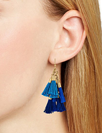 Bohemia Blue Color-matching Decorated Earrings