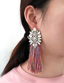 Bohemia Multi-color Hollow Out Decorated Tassel Earrings
