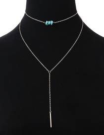 Fashion Silver Color Square Shape Decorated Double Layer Necklace