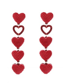 Lovely Red Hollow Out Heart Shape Decorated Earrings