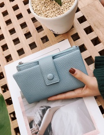 Fashion Blue Pure Color Decorated Wallet