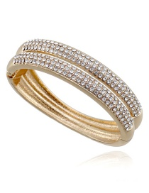 Elegant Gold Color Round Shape Diamond Decorated Double Layer Bracelet