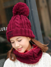 Trendy Claret Red Fuzzy Balls Decorated Cap(with Scarf)