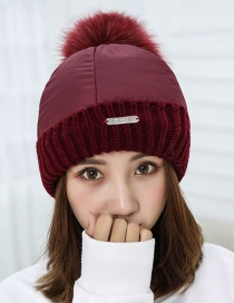 Trendy Red Fuzzy Ball Decorated Pure Color Cap