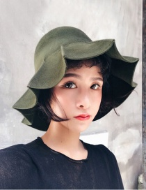 Trendy Olive Lotus Leaves Hem Design Fisherman's Hat