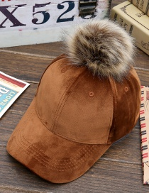 Lovely Khaki Fuzzy Ball Decorated Hat