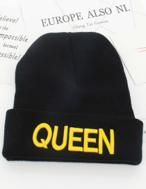 Fashion Black+yellow King Letter Decorated Cap