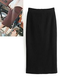 Elegant Black Pure Color Decorated Dress