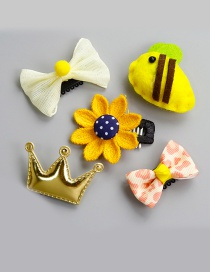 Lovely Yellow Crown Shape Decorated Baby Hairpin (5pcs)