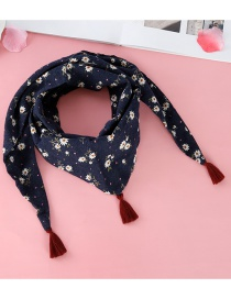 Fashion Navy Tassel Decorated Scarf