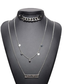 Fashion Silver Color Hollow Out Decorated Multilayer Choker