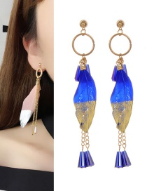 Bohemia Blue Feather Decorated Earrings