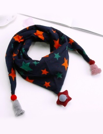 Fashion Navy Star Pattern Decorated Scarf