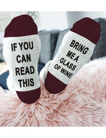 Fashion Red+white Letter Shape Decorated Sock