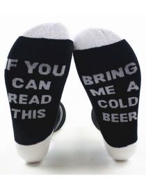 Fashion White+black Letter Shape Decorated Sock