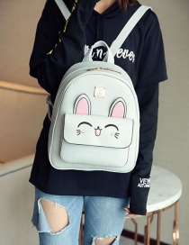 Fashion Gray Bear Decorated Backpack ( 4pcs )