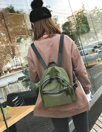 Fashion Green Zipper Decorated Backpack