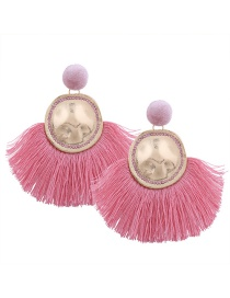 Bohemia Pink Metal Round Shape Decorated Tassel Earrings