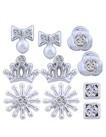 Personality Silver Color Rose Shape Decorated Earrings (5pair)