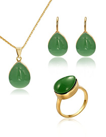 Fashion Gold Color Water Drop Shape Design Jewelry Sets