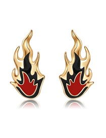Fashion Gold Color+red Flame Shape Decorated Earrings