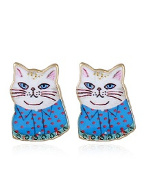 Fashion Blue Cat Shape Decorated Earrings