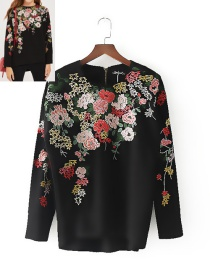 Bohemia Black Embroidery Flowers Decorated Blouse