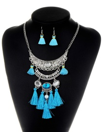 Bohemia Blue Oval Shape Decorated Tassel Jewelry Set