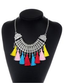 Bohemia Multi-color Tassel Decorated Necklace