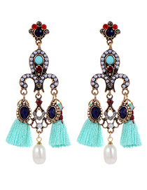 Bohemia Green Round Shape Decorated Tassel Earrings