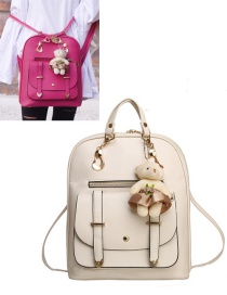 Fashion Beige Bear Decorated Backpack