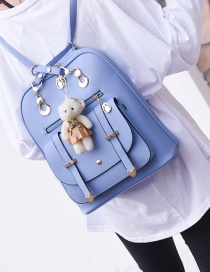 Fashion Blue Bear Decorated Backpack