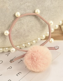 Fashion Pink Ball Decorated Pom Hair Band