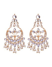 Fashion Gold Color Moon Shape Decorated Earrings