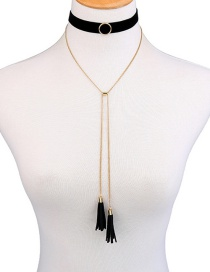 Fashion Gold Color+black Tassel Decorated Necklace