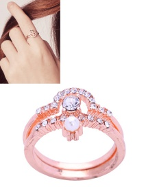 Fashion Rose Gold Pure Color Decorated Ring