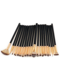 Fashion Brown+black Sector Shape Decorated Makeup Brush ( 20 Pcs)