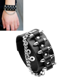 Fashion Black Rivet Decorated Men Bracelet